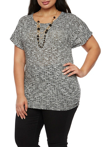 Plus Size Marled Knit Top with Necklace,BLACK,large