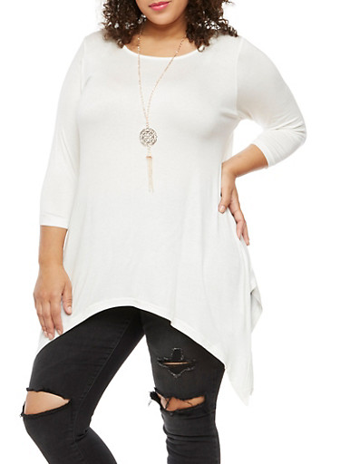 Plus Size Asymmetrical Top with Necklace at Rainbow Shops in Daytona Beach, FL | Tuggl