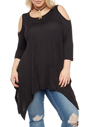 Plus Size Cold Shoulder Top with Detachable Necklace,BLACK,large