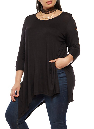 Plus Size Laser Cut Top with Choker Necklace,BLACK,large