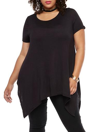 Plus Size Asymmetrical Top with Choker,BLACK,large