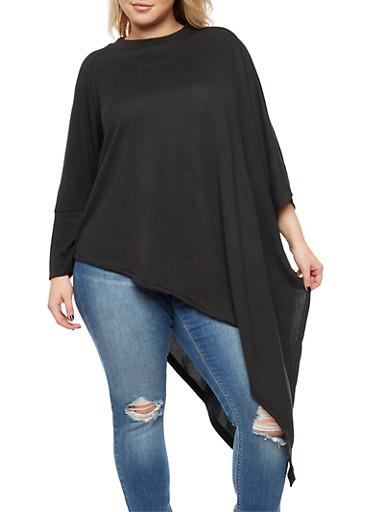 Plus Size Asymmetrical Poncho,BLACK,large