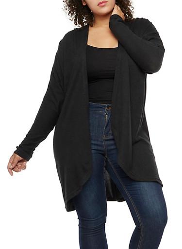 Plus Size Dolman Sleeve Cardigan,BLACK,large