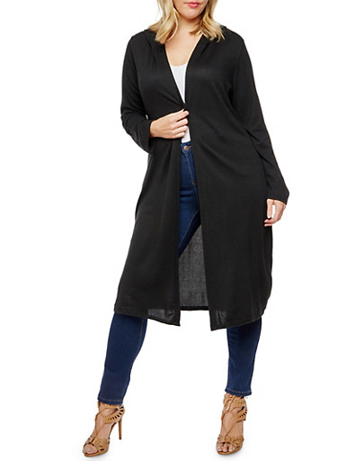 Plus Size Long Sleeve Hooded Duster,BLACK,large