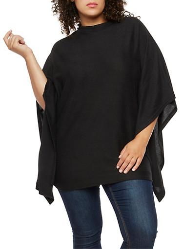 Plus Size Poncho Top,BLACK,large