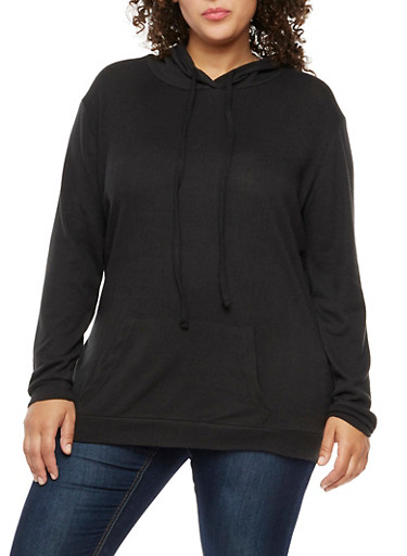 Plus Size Long Sleeve Hooded Top,BLACK,large
