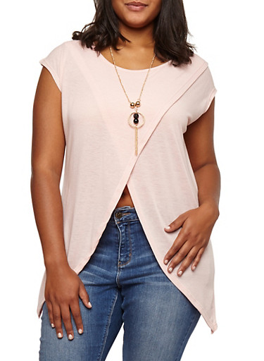 Plus Size Split Front Top with Necklace at Rainbow Shops in Daytona Beach, FL | Tuggl