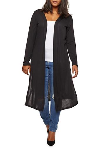 Plus Size Front Slit Maxi Top,BLACK,large