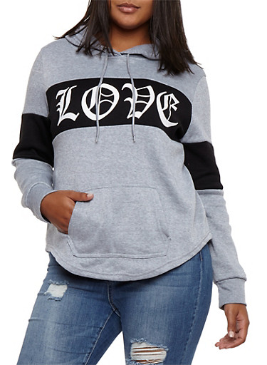 Plus Size Love Graphic Color Block Hooded Sweatshirt,GRAY,large
