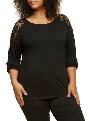 Plus Size Knit Top with Lace Paneling,BLACK,large