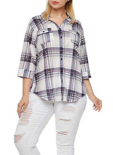 Plus Size Plaid Shirt,WHITE-BLUE,large
