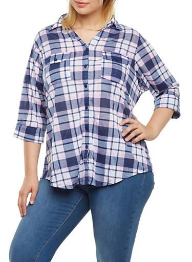 Plus Size Plaid Shirt with Shirttail Hem,PINK-BLUE,large