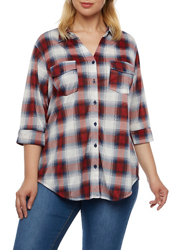 Plus Size Plaid Shirt with Button Front,WHITE-BLUE- RED,large