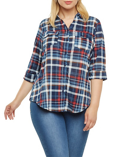 Plus Size Plaid Button-Down top with Pockets and Three-Quarter Sleeves,NAVY-BRN,large
