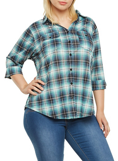 Plus Size Plaid Shirt,BLACK-TURQ,large