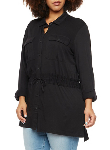 Plus Size Button Up Shirt with Drawstring,BLACK,large