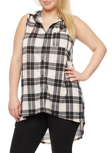 Plus Size Sleeveless Plaid High Low Top at Rainbow Shops in Daytona Beach, FL | Tuggl