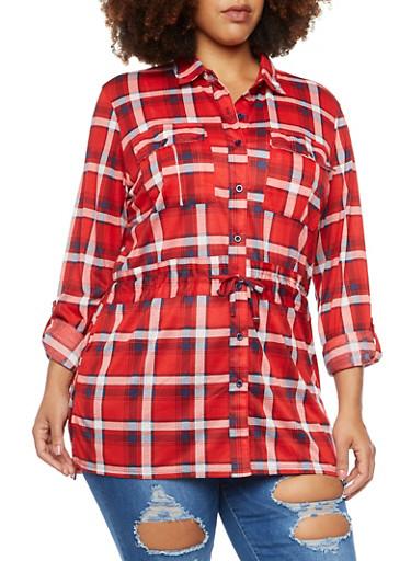 Plus Size Drawstring Shirt in Plaid,RED-NAVY,large