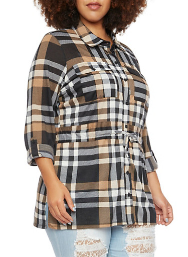 Plus Size Plaid Shirt with Drawstring Waist,BLACK-TAUPE,large