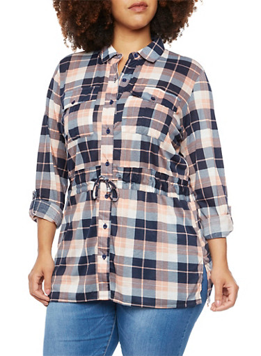 Plus Size Plaid Shirt with Drawstring Waist,PEACH-NAVY,large