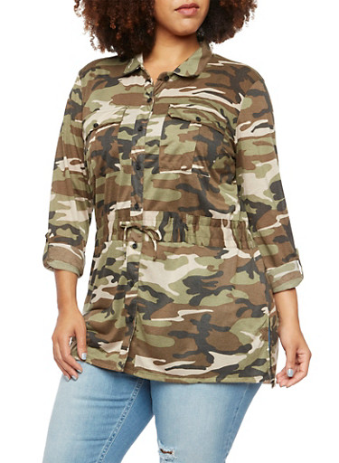 Plus Size Camo Shirt with Drawstring Waist,OLIVE,large