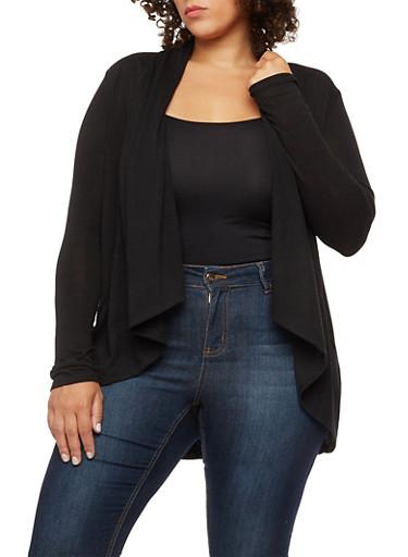 Plus Size Ribbed Knit Collar Cardigan,BLACK,large