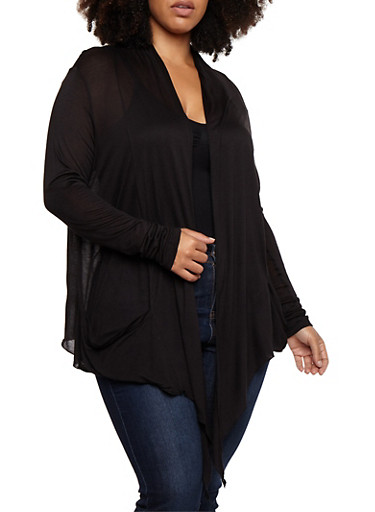 Plus Size Solid Open Front Cardigan,BLACK,large