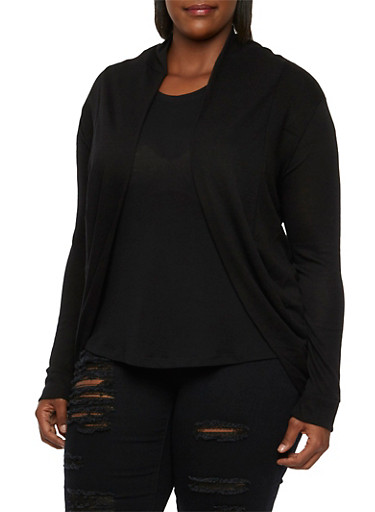 Plus Size Cocoon Cardigan with Open Front,BLACK,large