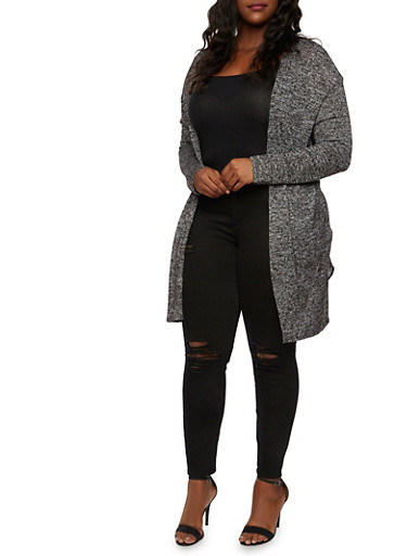 Plus Size Open Cardigan in Marled Knit,BLACK,large