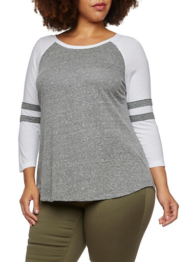 Plus Size Top with Raglan Sleeves,GRAY/WHITE,large