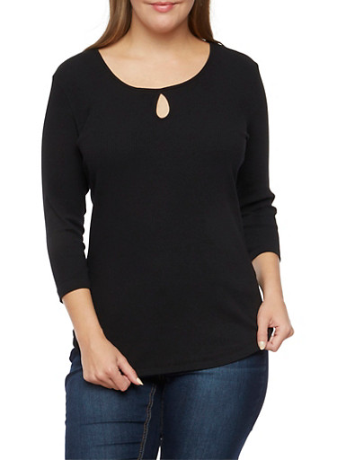 Plus Size Scoop Neck Top with Keyhole Cutout,BLACK,large