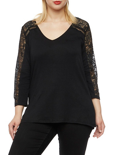 Plus Size Top with Lace Paneling,BLACK,large