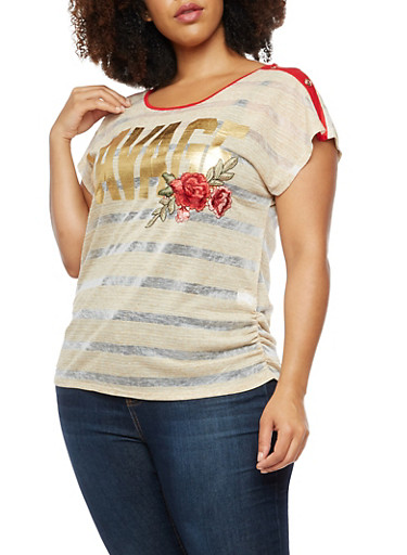 Plus Size Striped Foil Graphic T Shirt with Embroidered Detail,OATMEAL/WHT,large