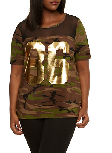 Plus Size Camo Top with Mesh Paneling and Metallic 86 Graphic,OLIVE,large