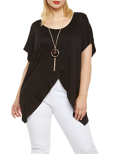 Plus Size Asymmetrical Top with Removable Necklace,BLACK,large