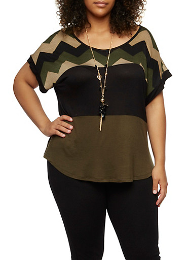 Plus Size Chevron Color Block Top with Necklace,OLIVE/COMBO,large