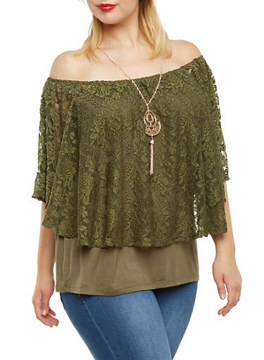 Plus Size Lace Flutter Top with Necklace,OLIVE,large