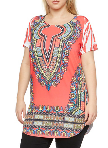 Plus Size Dashiki Print Tunic Top,RED COMBO,large