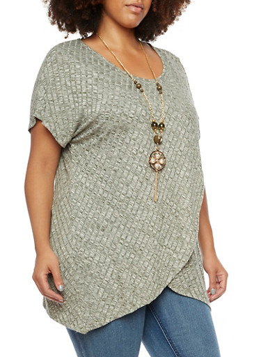 Plus Size Marled Tulip Top with Removable Necklace,OLIVE,large