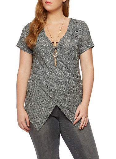 Plus Size Knit Top with Removable Necklace,BLACK,large