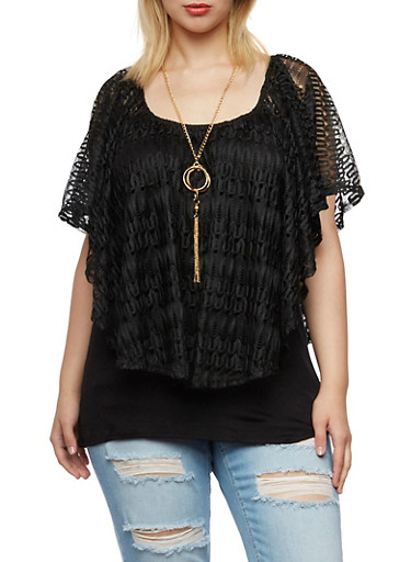 Plus Size Top with Crochet Overlay Paneling,BLACK,large
