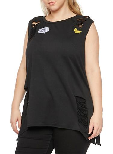Plus Size Slash Cut Top with Patches,BLACK,large