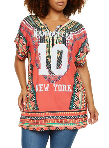 Plus Size Dashiki Print Tunic Top with Manhattan 10 Print,RED COMBO,large