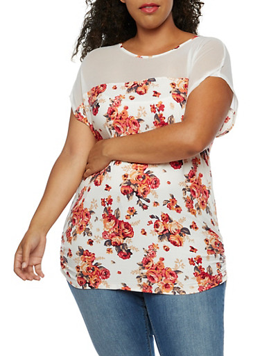 Plus Size Floral Mesh Short Sleeve Top,IVORY,large
