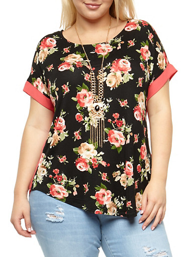 Plus Size Floral Top with Necklace,BLACK,large