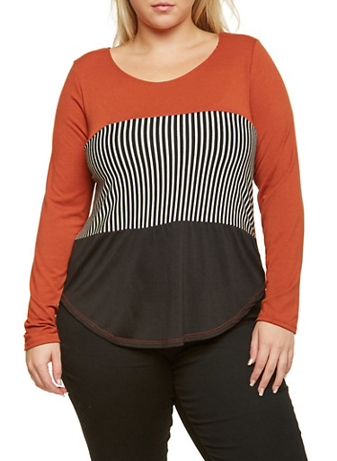 Plus Size Long Sleeve Top with Striped Paneling,RUST -BLK,large