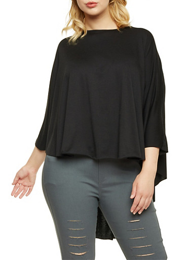 Plus Size Cape Top with High Low Hem,BLACK,large