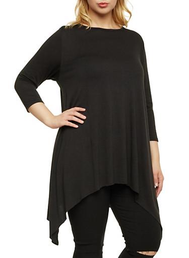 Plus Size Asymmetrical Knit Top,BLACK,large
