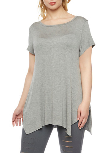 Plus Size Asymmetrical Top with Short Sleeves,GRAY,large