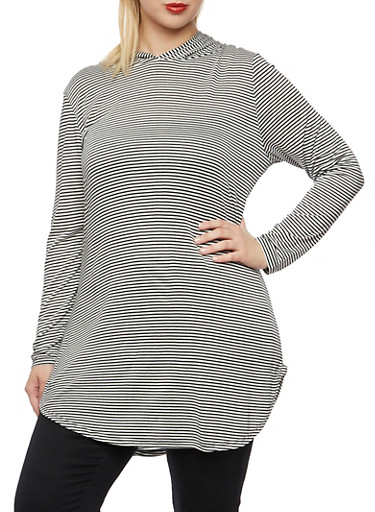 Plus Size Striped Tunic Top with Hood,BLACK/WHITE,large